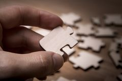 Close up of the pieces of a puzzle stock photography