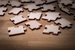 Close up of the pieces of a puzzle royalty free stock photos