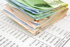 Close up pile bill of Thailand place on statement Royalty Free Stock Image