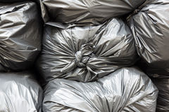 Close up pile of black garbage bags Royalty Free Stock Photo