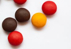 Close up  of a pile of colorful chocolate coated candy Stock Images