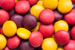 Close up  of a pile of colorful chocolate coated candy Stock Photography