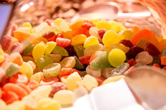 Close up of a pile of colorful sweet candies. Background Royalty Free Stock Image