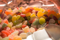 Close up of a pile of colorful sweet candies. Background Royalty Free Stock Images