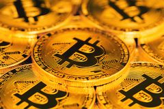 Close up of bitcoins Royalty Free Stock Photo