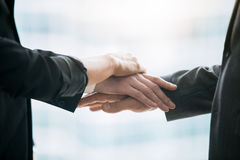 Close up of pile hands of businessmen Stock Photos