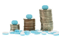 Close up pile of medicine and coin stack Royalty Free Stock Images