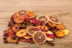 Close Up Of Pile Of Organic Raw Sun Dried Fruits Mix Of Oranges, Plum, Strawberries, Golden Berries And Peach On Wooden Table royalty free stock images