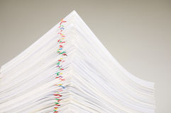 Close up pile overload paperwork Royalty Free Stock Image