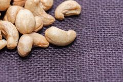 Close up of pile of peanuts. On sack Stock Photos
