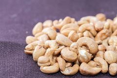 Close up of pile of peanuts. On sack Stock Photography