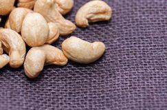 Close up of pile of peanuts. On sack Royalty Free Stock Images