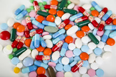 Close up of a pile of pills Royalty Free Stock Photography
