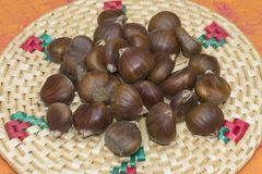 Close-up of a heap of raw sweet chestnuts. Close-up of a pile of raw sweet chestnuts, on a rustic wicker tablecloth Stock Images