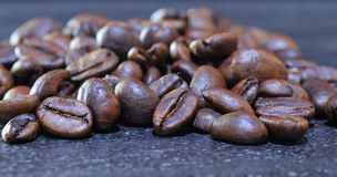 Close-up of pile of roasted coffee beans Royalty Free Stock Images