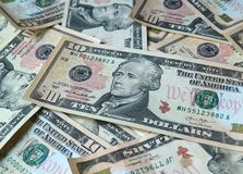 Close up pile of United States ten dollar $10 bills, for background royalty free stock photo