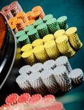 Close up of piles of chips near the roulette Royalty Free Stock Photos
