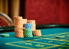 Close up of piles of chips on the roulette table Stock Image