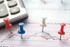 Close up of pin on graph data. business finance concept. Royalty Free Stock Images