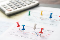 Close up of pin on graph data. business finance concept. Royalty Free Stock Photos