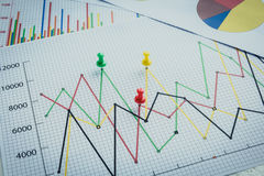 Close up of pin on graph data. Finance concept Stock Images