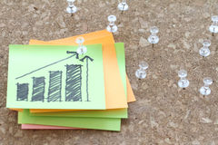 Close up of pin and hand drawn business strategy graph chart. On sticky note with cork board as concept Royalty Free Stock Photo