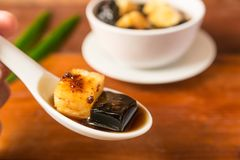 Close-up of pineapple and grass jelly Stock Photography