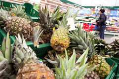 Close-up pineapples. Pineapples at the super market Royalty Free Stock Images