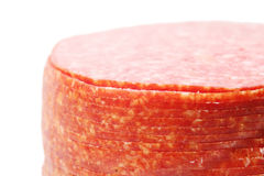 Close up of pink appetizing salami sausage pieces Stock Photography