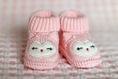 Close-up of Pink Baby Booties Royalty Free Stock Image