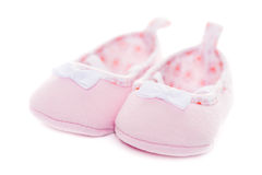 Close up pink baby shoes Royalty Free Stock Photo