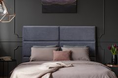 Pink and violet bedroom interior royalty free stock photography