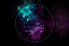 Close-up сloud of pink and blue smoke. Close-up pink and blue cloud of smoke blown under a magnifying glass  of  black isolated background. Background from vector illustration