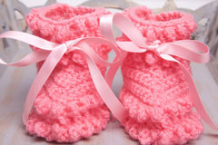 Close up pink bootees Stock Image