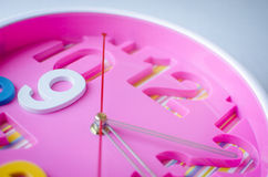 Close up pink clock. Royalty Free Stock Images
