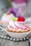 Close-up of pink cupcake with icing Stock Images
