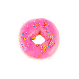 Close up pink donut. On white background Royalty Free Stock Photos