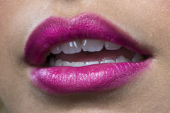 Close up of pink lips Royalty Free Stock Photos