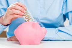 Close-up of a pink piggy bank and a hundred dollar money. Stock Royalty Free Stock Image