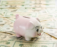 Piggy bank on top of many $20 notes Stock Photo