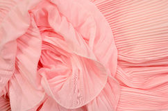 Close up on pink pleated lace. Royalty Free Stock Photos