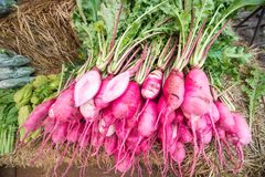 Pink radish on street market. Close up Pink radish on street market Stock Images