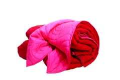 Pink and red blanket isolated on white. Close up pink and red blanket isolated on white Royalty Free Stock Photos