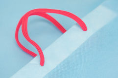 Close up pink rope with light blue bag Stock Photography