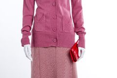 Close up pink sweater and skirt. Female mannequin with red leather wallet, cropped image Royalty Free Stock Image