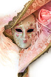 Close up of a pink woman venetian mask Royalty Free Stock Images