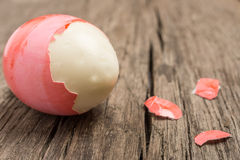 Close up of a pitched red easter egg Stock Image