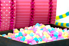 Close Up of pixel beads, plastic granules or plastic beads. On small clippers Stock Image