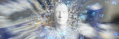 Composite image of close-up of pixelated gray 3d man. Close-up of pixelated gray 3d man against electronic circuit board with processor Stock Photos