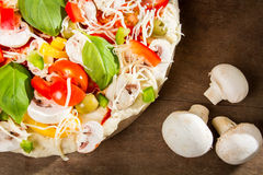 Close-up of pizza before baking stock photo